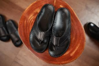 Dép da nam cao cấp hàng hiệu gitana quai kẹp màu đen