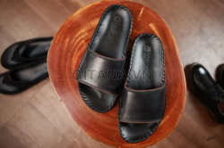 Dép da nam cao cấp hàng hiệu gitana quai bảng màu đen