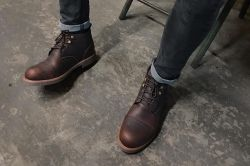Giày da nam cổ lững Best Seller steeler da sáp ướt màu nâu